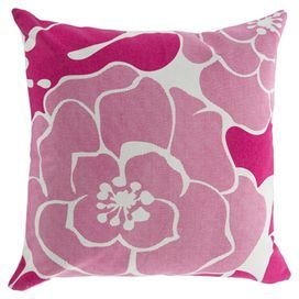 """Showcasing a printed floral motif, this handcrafted pillow adds a splash of color to your living room sofa or guest room daybed.   Product: PillowConstruction Material: FabricColor: Bright roseFeatures:  HandcraftedPrinted designDimensions: 20"""" x 20"""" Cleaning and Care: With a dry cotton towel or white paper towel, blot out stain as much as possible. Scrape off any debris."""