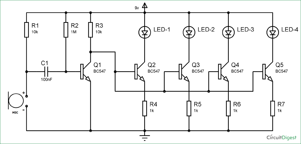 bc547 based led music light circuit diagram electronics rh pinterest com led bulbs circuits diagrams led circuits schematics
