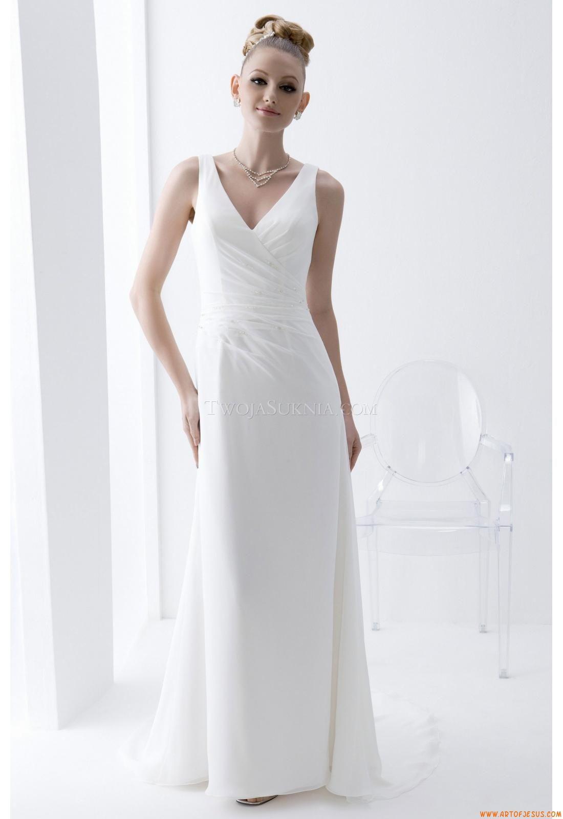 Elegant V-neck Court Train Wedding Dress China Venus AT6553 Angel ...