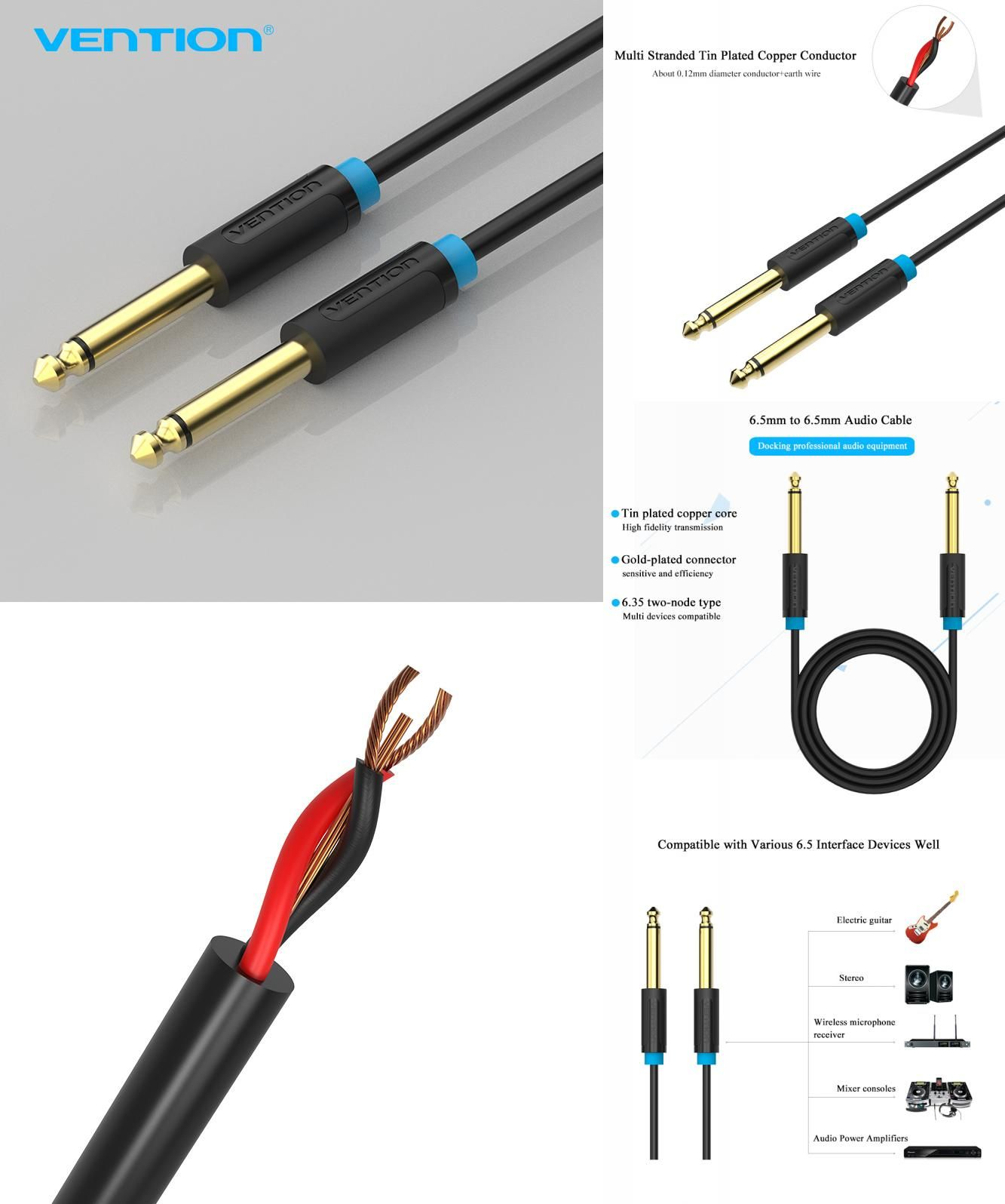 Visit To Buy Vention 65mm Jack Audio Cable Gold Plated 65 Aux Wiring