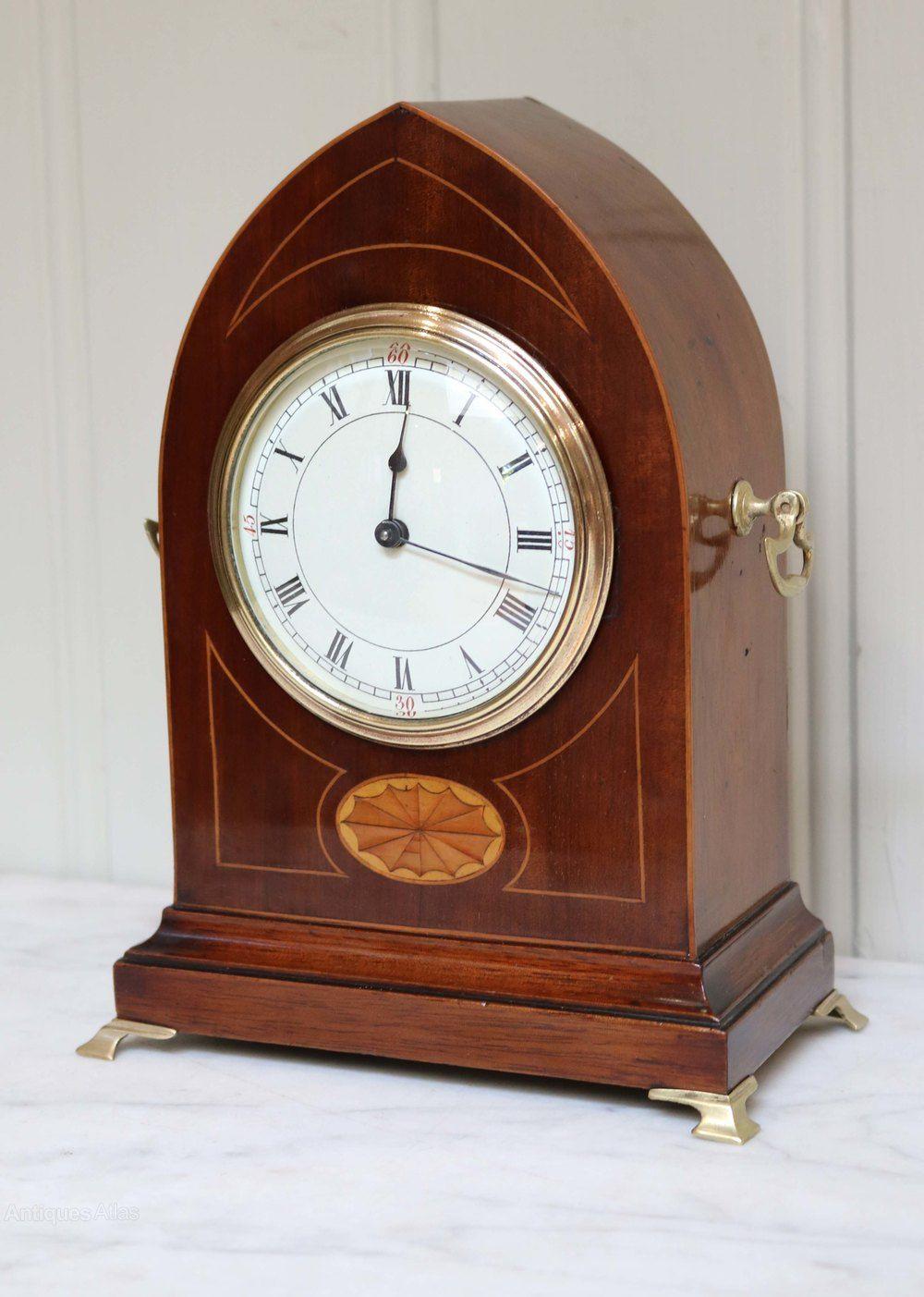 Edwardian Mahogany And Inlay Lancet Top Mantel Clock Mantel