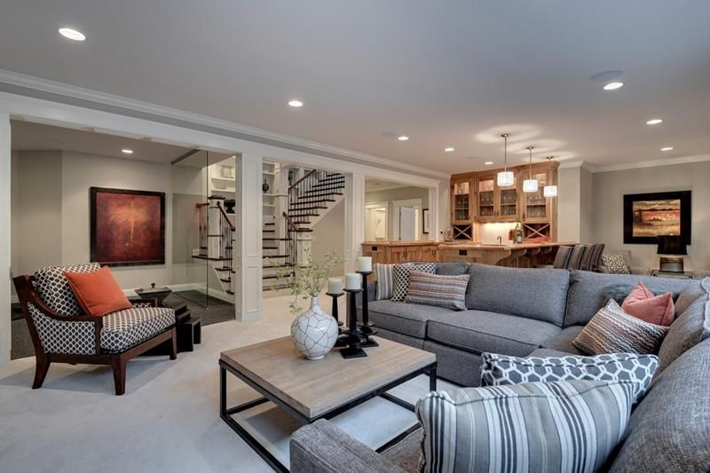 26 Charming And Bright Finished Basement Designs Page 2 Of 5 Basement Living Rooms Basement Family Rooms Basement Design