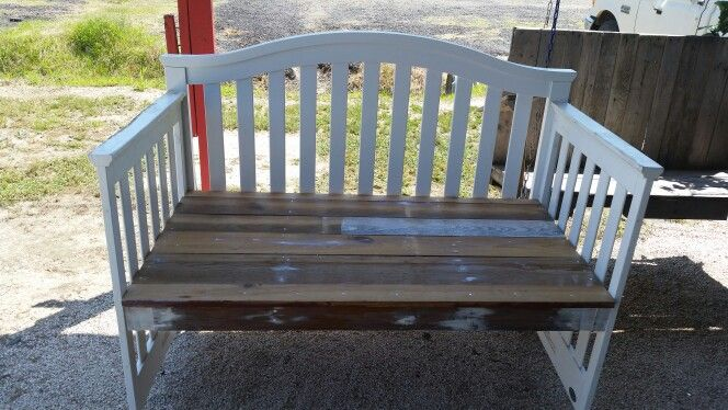 Found this old baby bed Deane out of the trash and turned it into a beautiful bench
