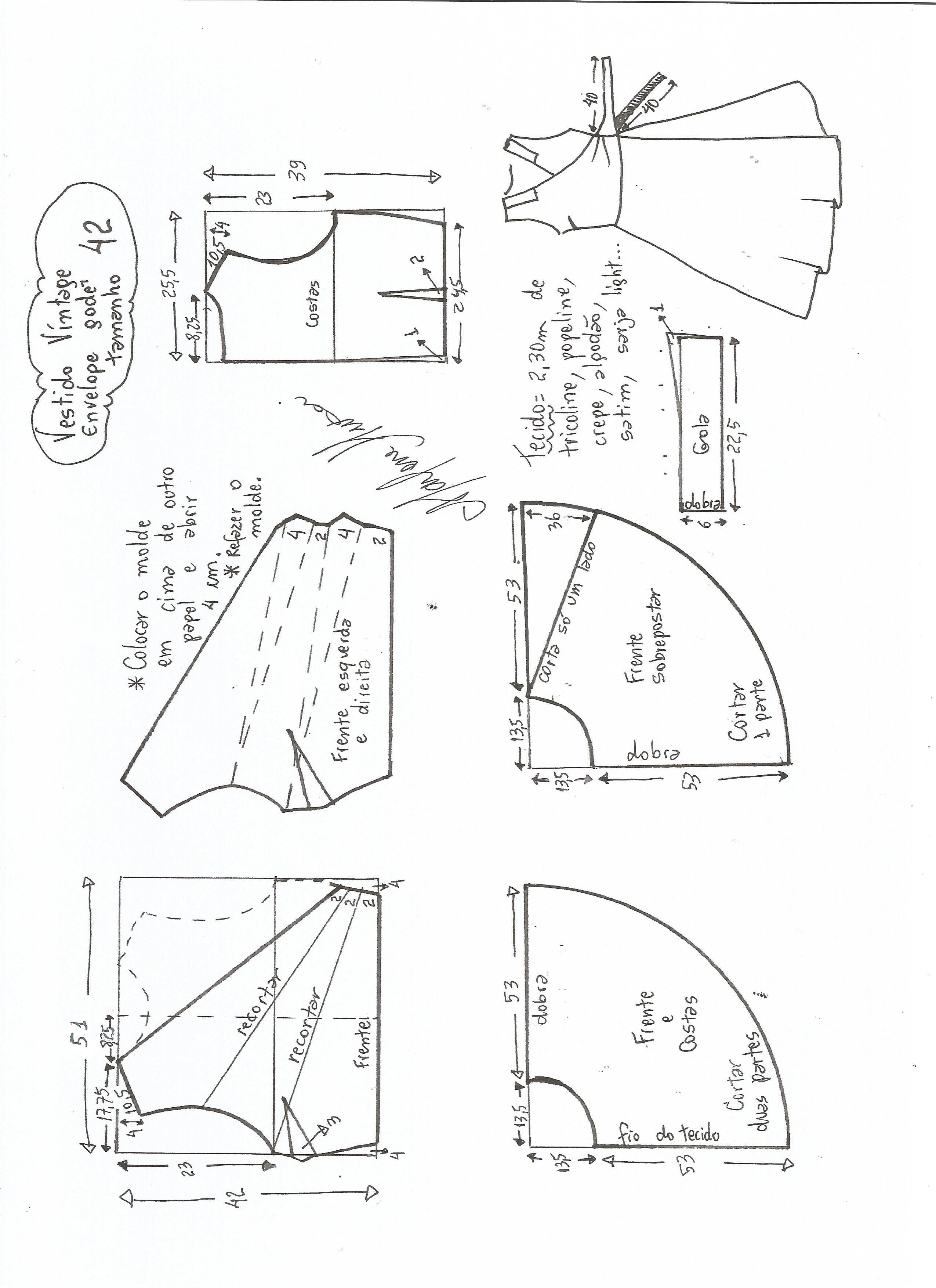 Vestido vintage cruzado talla-42.. | Patronaje y moda | Costura ...