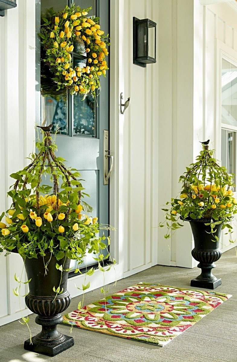 Tulip Greenery Collection Spring Porch Decorating