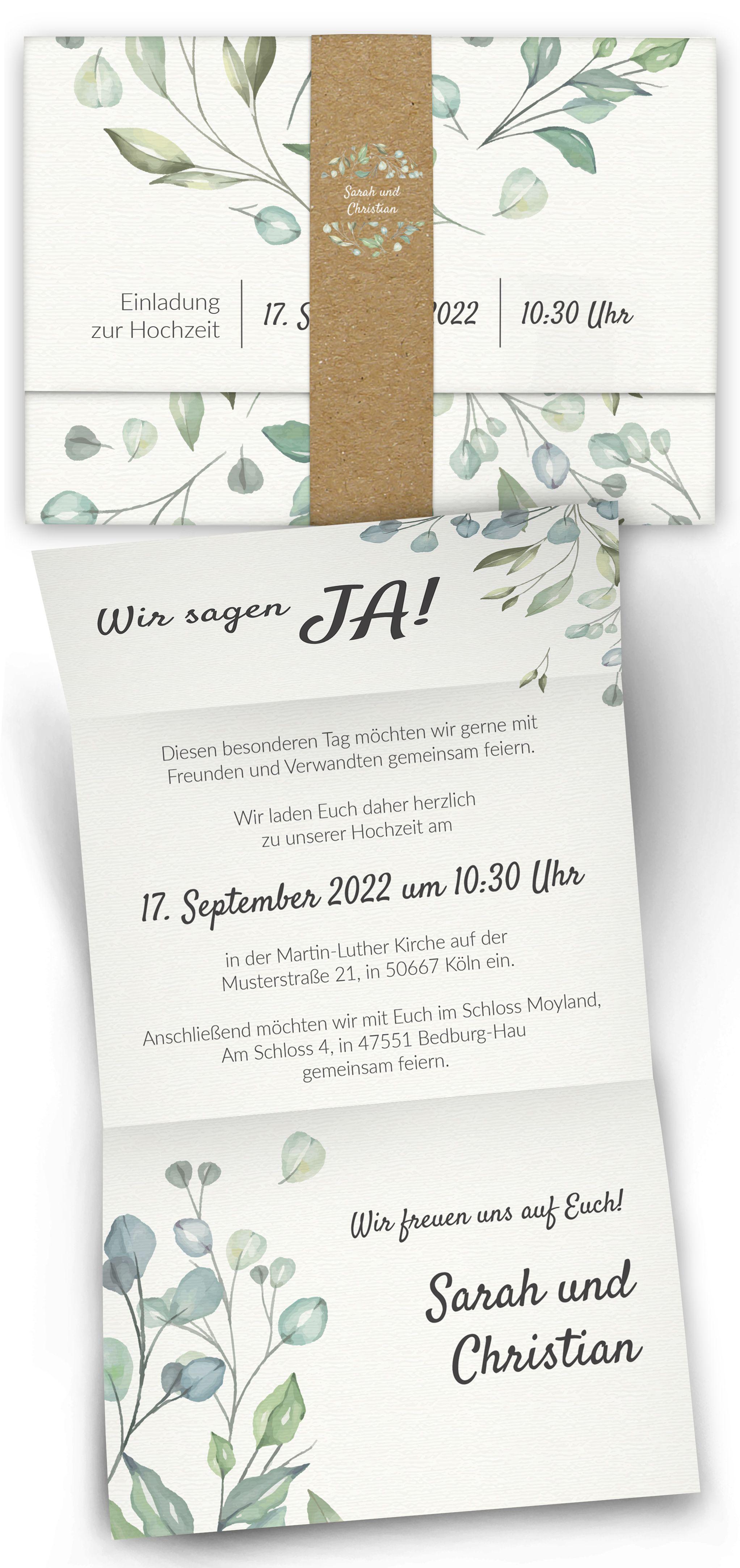 Boho Hochzeitseinladung mit Banderole   – Weeding