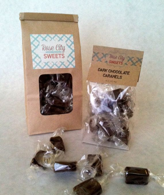 Dark Chocolate Caramels half pound by RoseCitySweets on Etsy