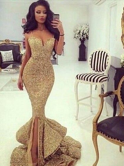 2399284ee3f Trumpet Mermaid V-neck Gold Sequined with Split Front Sweep Train Stunning  Ball Dresses  PLS020103699