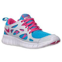 eb559a358c5b Girls Grade School Nike Free 2.0 Running Shoes Vivid Blue Vivid Pink Pure  Platinum 477701 400  Sneakers
