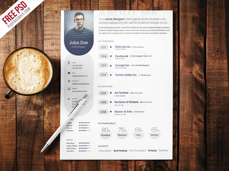 Awesome Professional Resume Template Free PSD Download Free - resume template psd