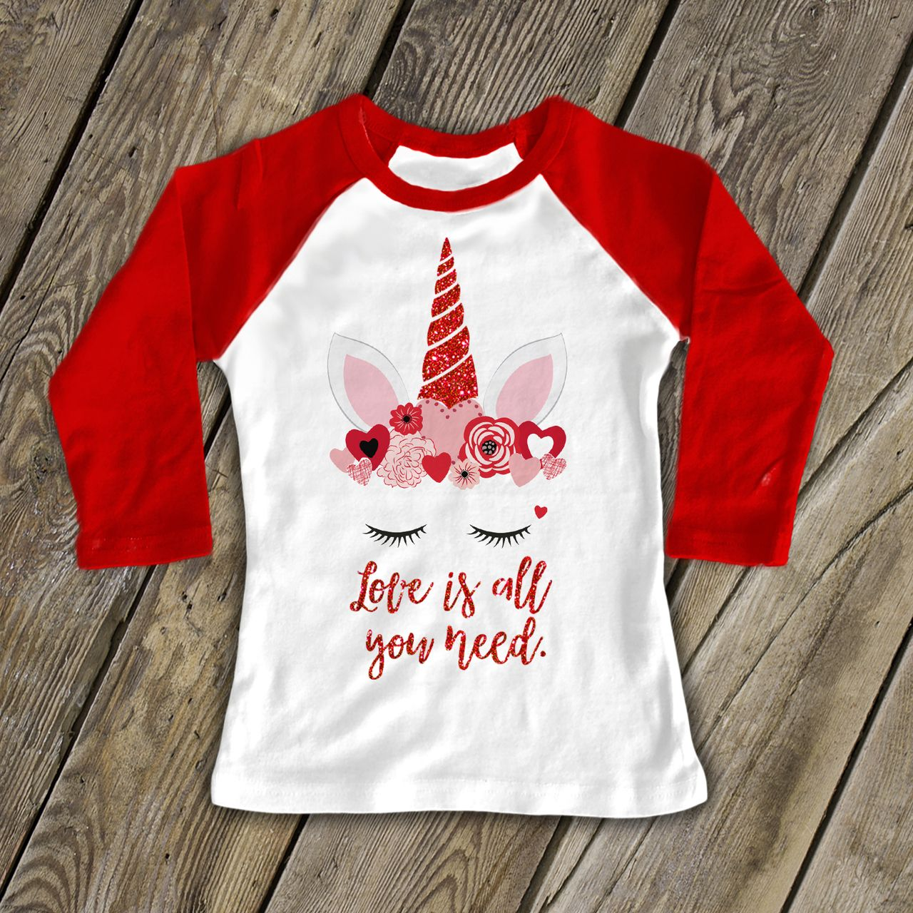 7 ate 9 Apparel Girls Christmas Unicorn Red Baseball Tee