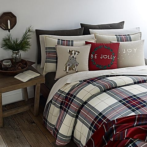 Ed Ellen Degeneres Tartan Plaid Full Queen Duvet Cover In Ivory Home Room Design Holiday Bedroom Plaid Bedding