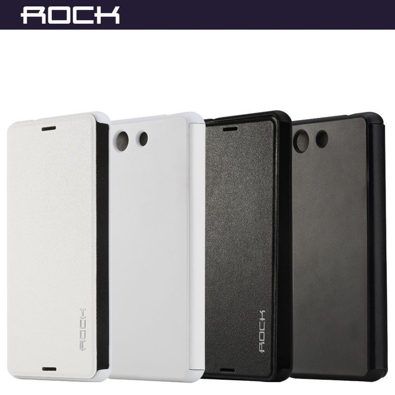 Rock Elegant Leather Flip Case Cover Skin For Sony Xperia Z3 Compact Genuine Leather Wallets Sony Xperia Case Cover