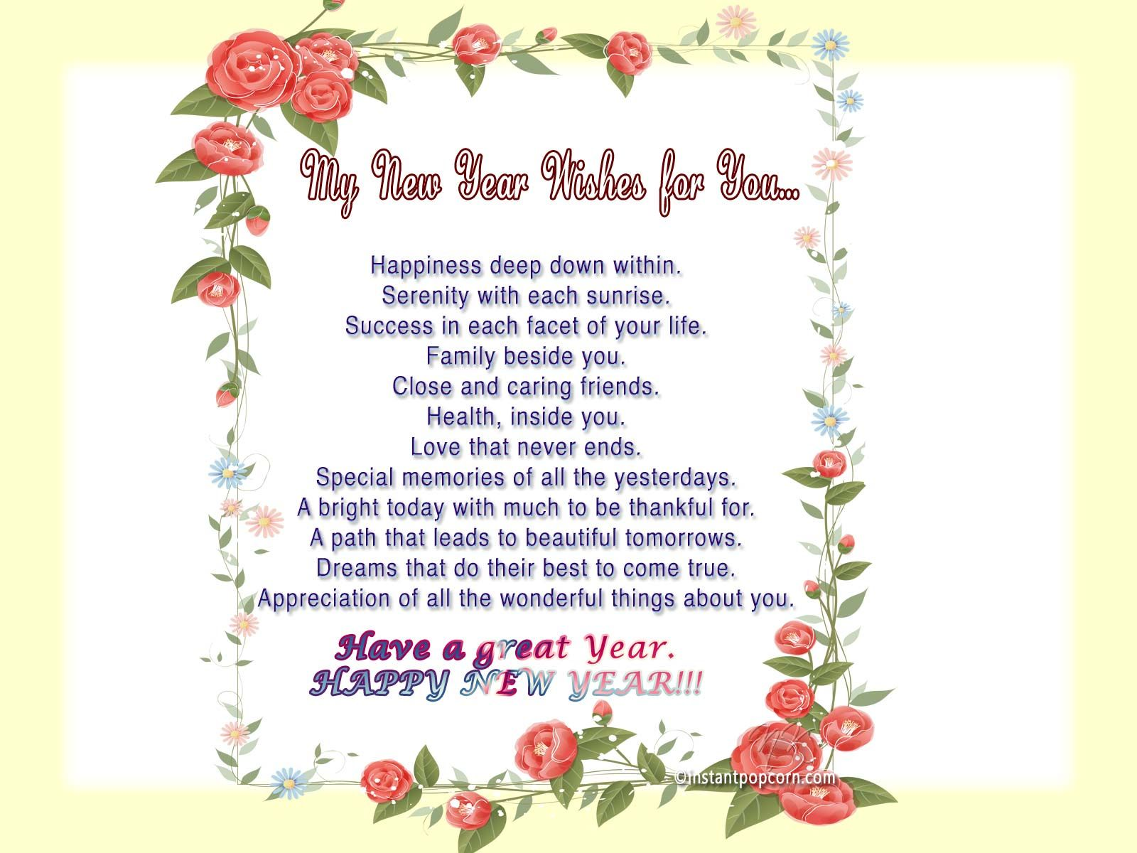 new year's poems My Wishes For New Year New Year Poem