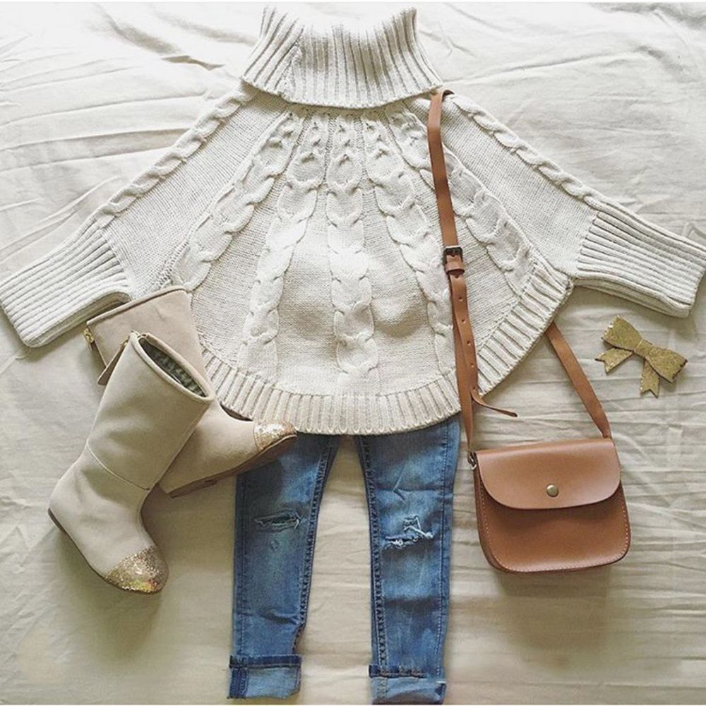 Photo of Girls Sweaters Cape Fashion Turtleneck Ponchos Baby Princess Beige Cloak Coat 6T  | eBay