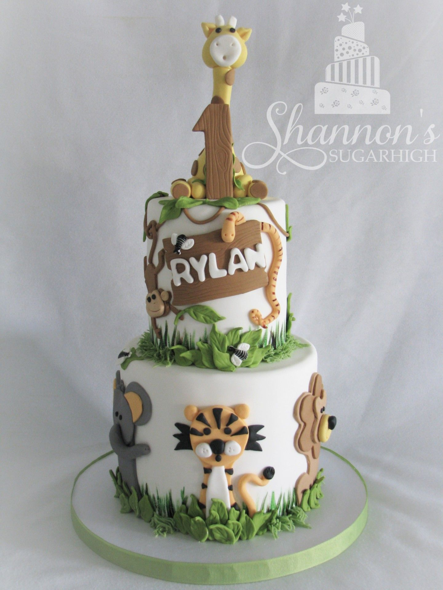 2tier zoo theme cake for a little boy turning 1 red