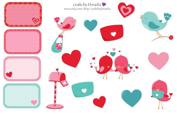 Valentine love bird stickers, Valentine Planner Stickers by CraftsbyDoraelia on Etsy