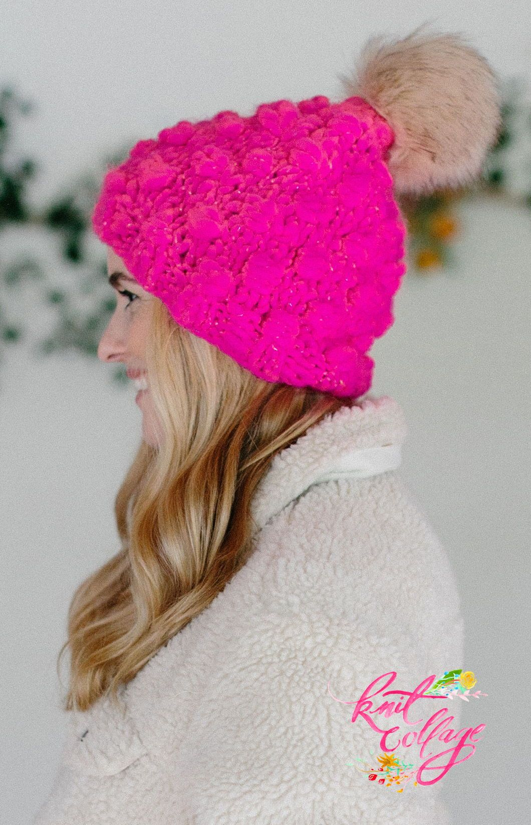 Looking for a quick one skein hat pattern  The Snowfall Bobble hat by Knit  Collage 0b2b4c816fe