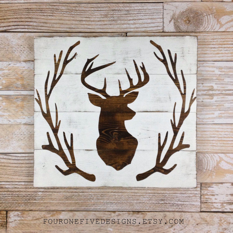 Deer Head Antler Wreath Wood Plank Sign Home Decor