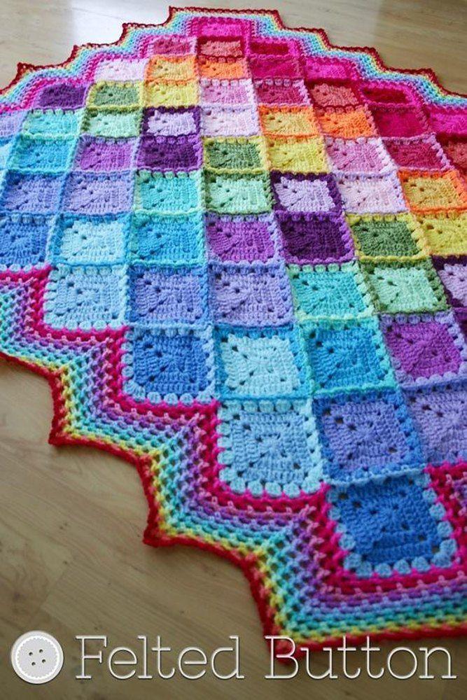 Happy Harlequin Blanket Rainbow Crochet Pattern By Susan Carlson