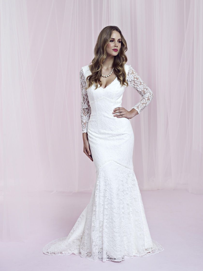 Lace arm wedding dress  Delilah  Hitched  Pinterest  Charlotte balbier Lace wedding