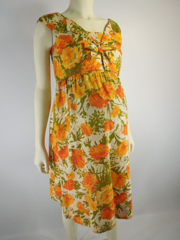 94583c23f3f Vintage 50s 60s Maternity Dress Shift Orange Floral by Ma Mere by Better Dresses  Vintage