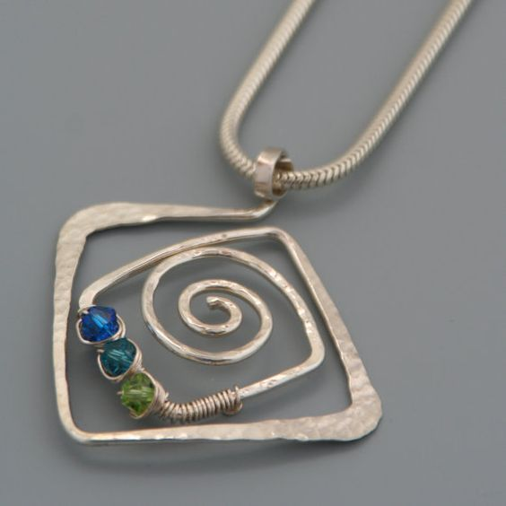 4d0b0604ee11f Square Spiral Sterling Silver Pendant with Swarovski Crystals ...