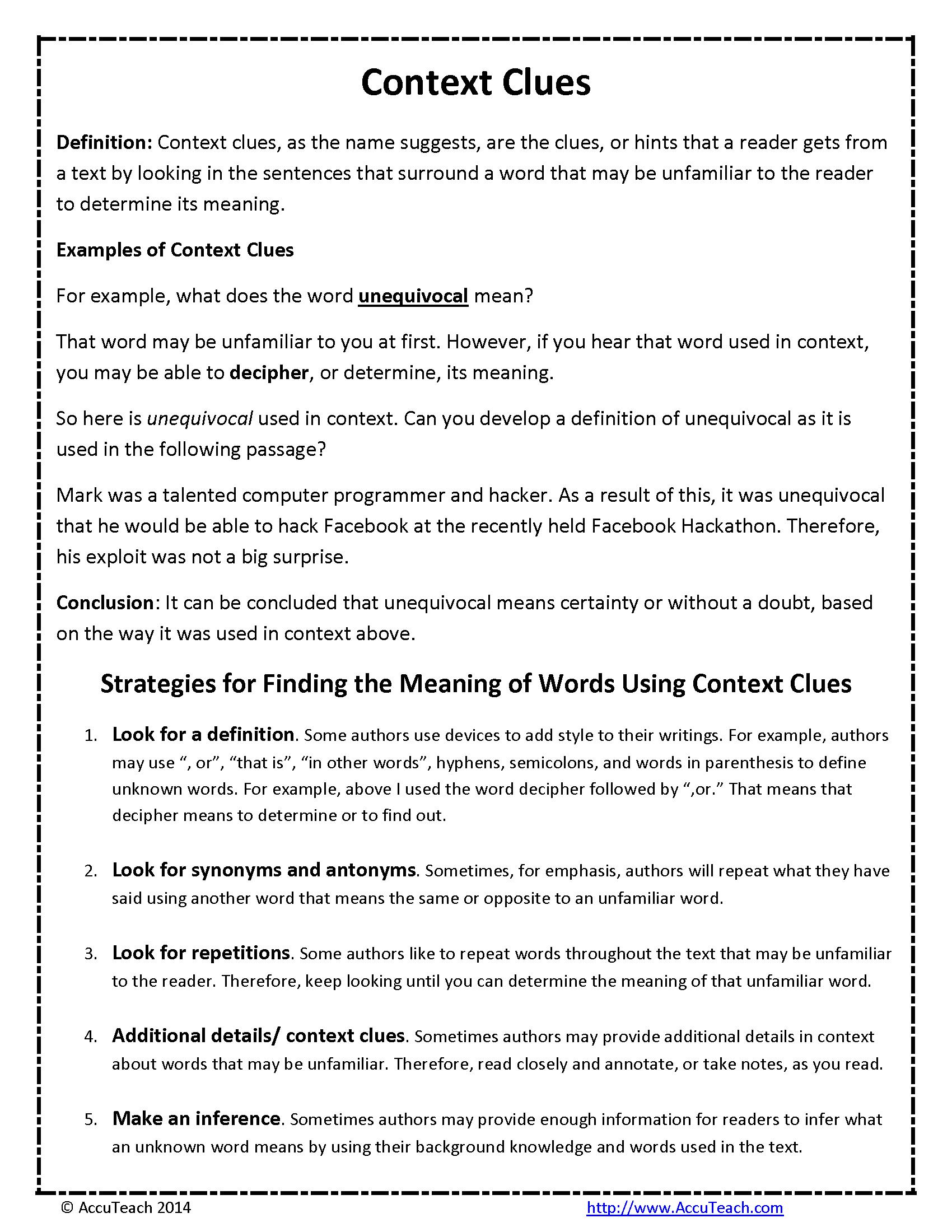 Context Clues Reading Comprehension Strategy   Context clues [ 2200 x 1700 Pixel ]