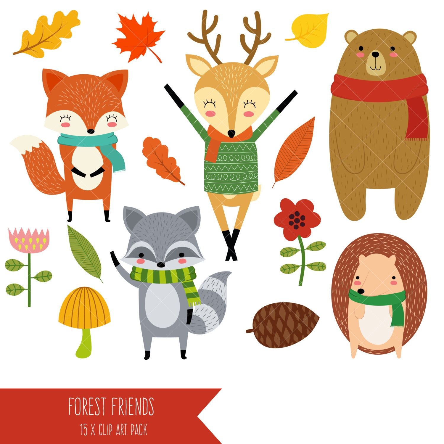 Forest Friends Clipart Woodland Clipart Cute Woodland Animals