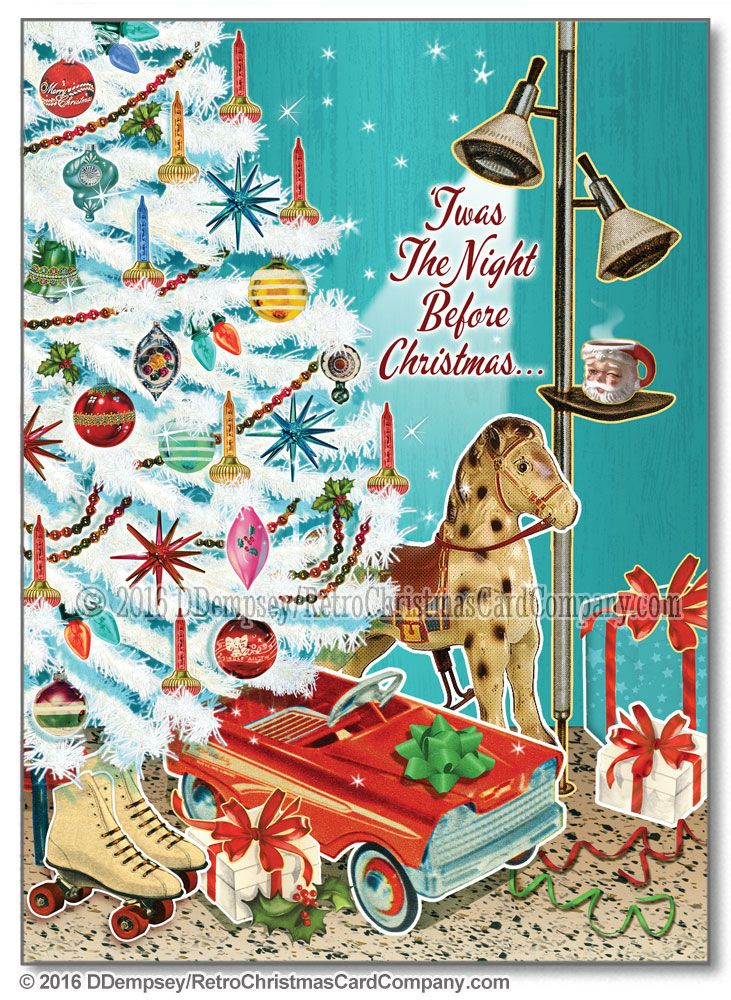 White Christmas Tree Christmas Cards, Package of 8 The Retro