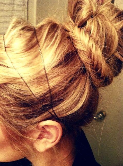 bun with fishtail braid