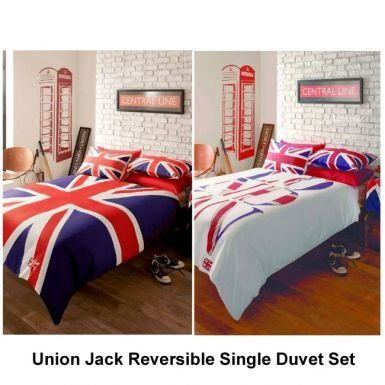 Union jack london reversible single duvet set england for Union jack bedroom ideas
