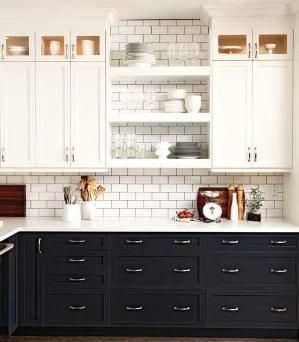 Black Lower Kitchen Cabinets With White Upper Cabinets With Subway Tile By Ivy Kitchen Trends Kitchen Inspirations Home Kitchens