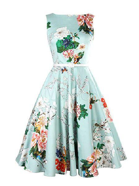 Blue Floral Print Flare Dress Sash Vintage Dress For Women ...