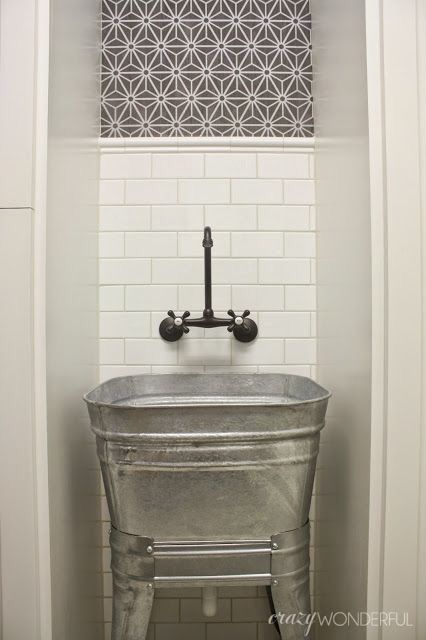 Utility Sink With Wall Mounted Faucet Laundry Room Sink Wash Tub Sink Farmhouse Laundry Room