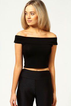 16bf9ed6781 Lilly Basic Off The Shoulder Crop Bardot Top | Clothes | Bardot top ...