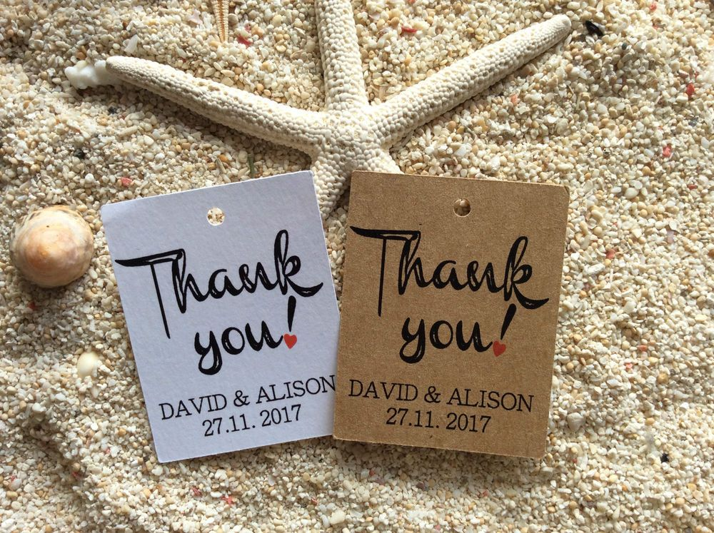 10 Kraft White Gift Tags Wedding Favour Bomboniere Thank You Personalised Rustic