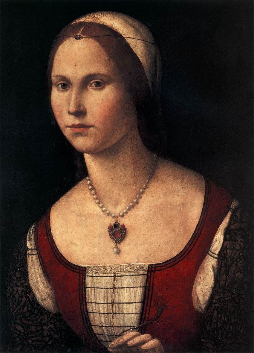 Portrait Of A Young Woman  Vittore Carpaccio This One Has Lovely Pearls  Around The Neck