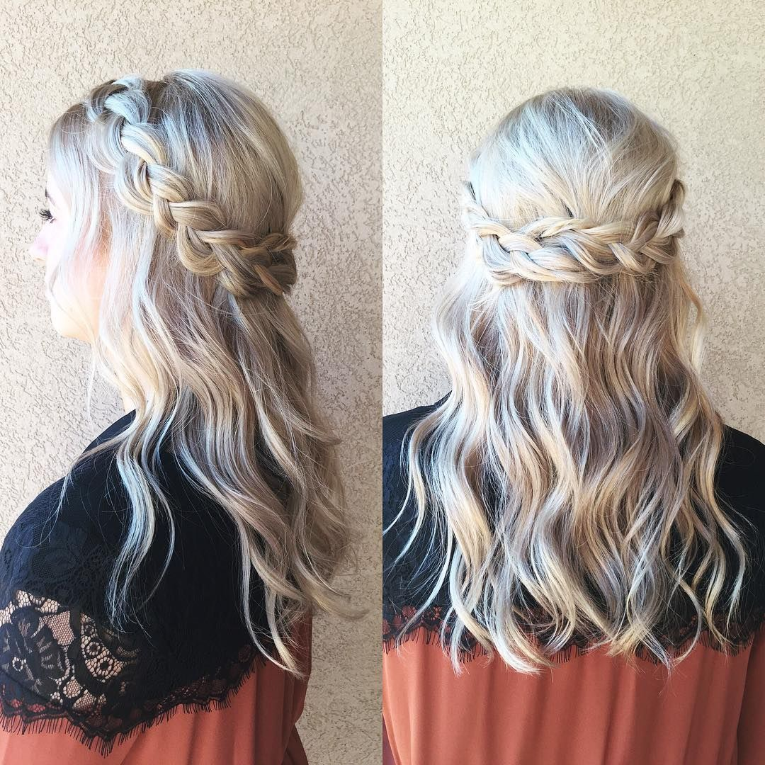 Wedding up Half hairstyles with braid photos