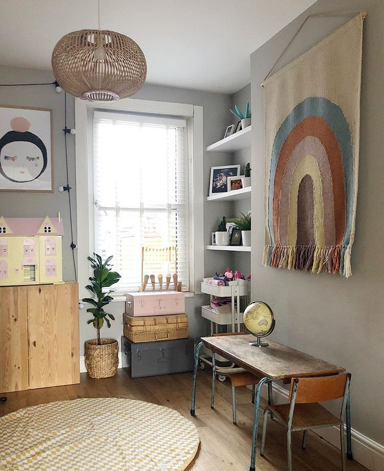 Scandi boho kids playroom, mix of vintage with new including ...