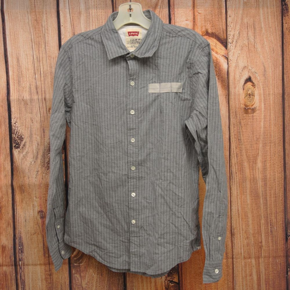 4e9ae40c89 New Levis Mens Gray Striped Long Sleeve Slim Fit Button Down Dress Shirt  Small  Levis  Italian
