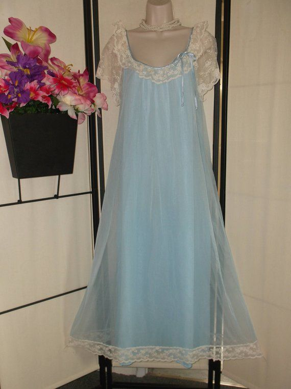 c661c10b017 Vintage nightgown Tosca 1960s Large  bridal peignoir blue double layer  nylon chiffon  sheer beige la