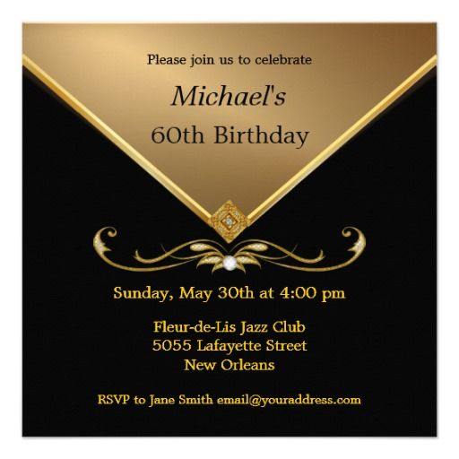 Menu0027s Elegant Gold Black 60th Brithday Invitations you will get best - best of birthday invitation card online maker