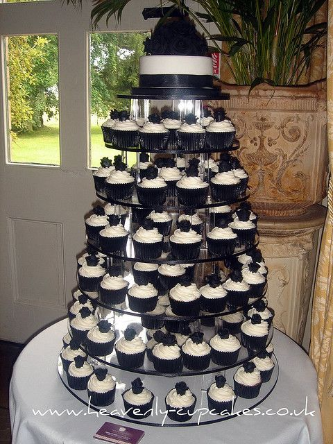 Black White Wedding Cupcakes Langar Hall Nottingham