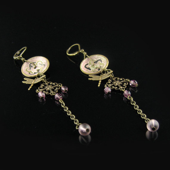 Antique button earrings Steampunk earrings Vintage by WiredVintage