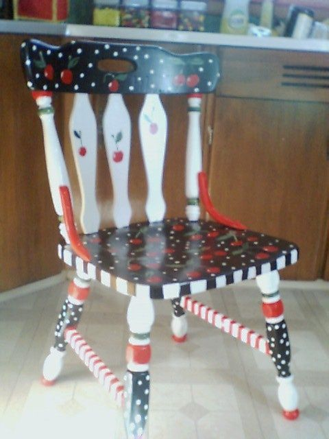My Cheery Cherry Chair Mary Engelbreit Style I Used Black Furniture