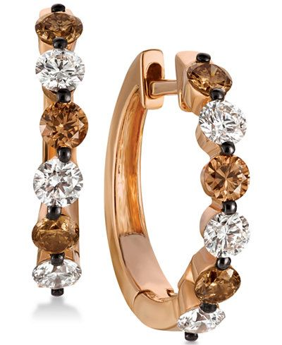 f5c6657cd Le Vian Chocolatier® Chocolate Diamonds® and Vanilla Diamonds®Hoop Earrings  (1-1/10 ct. t.w.) in 14k Strawberry Gold®