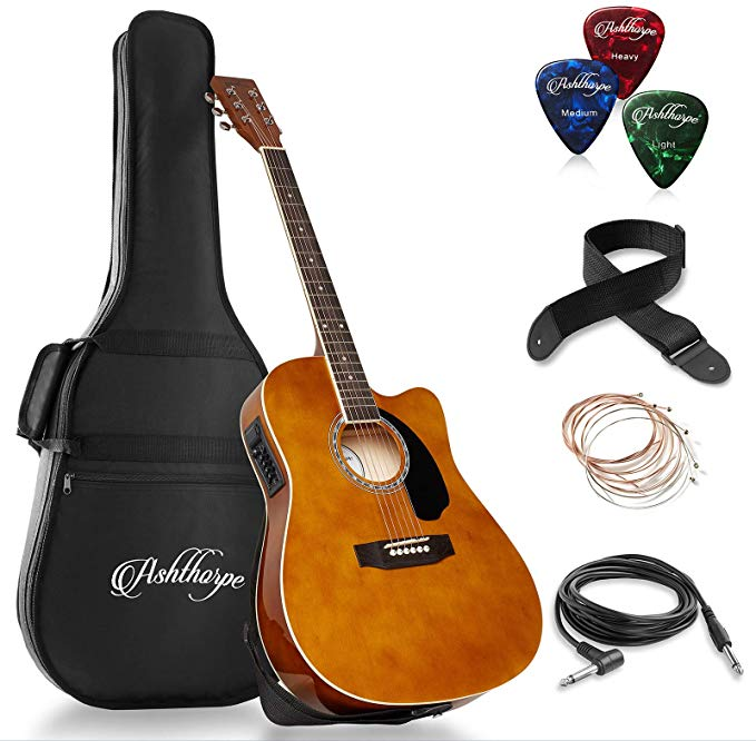 Ashthorpe Full Size Cutaway Thinline Acoustic Electric Guitar Package Premium Tonewoods Bro Best Acoustic Guitar Acoustic Electric Guitar Acoustic Electric