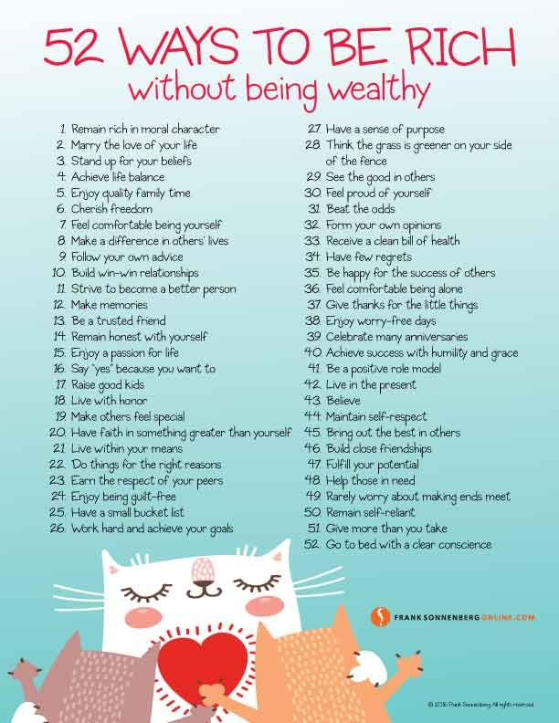 52 Ways To Be Rich Without Being Wealthy How To Be Rich How To