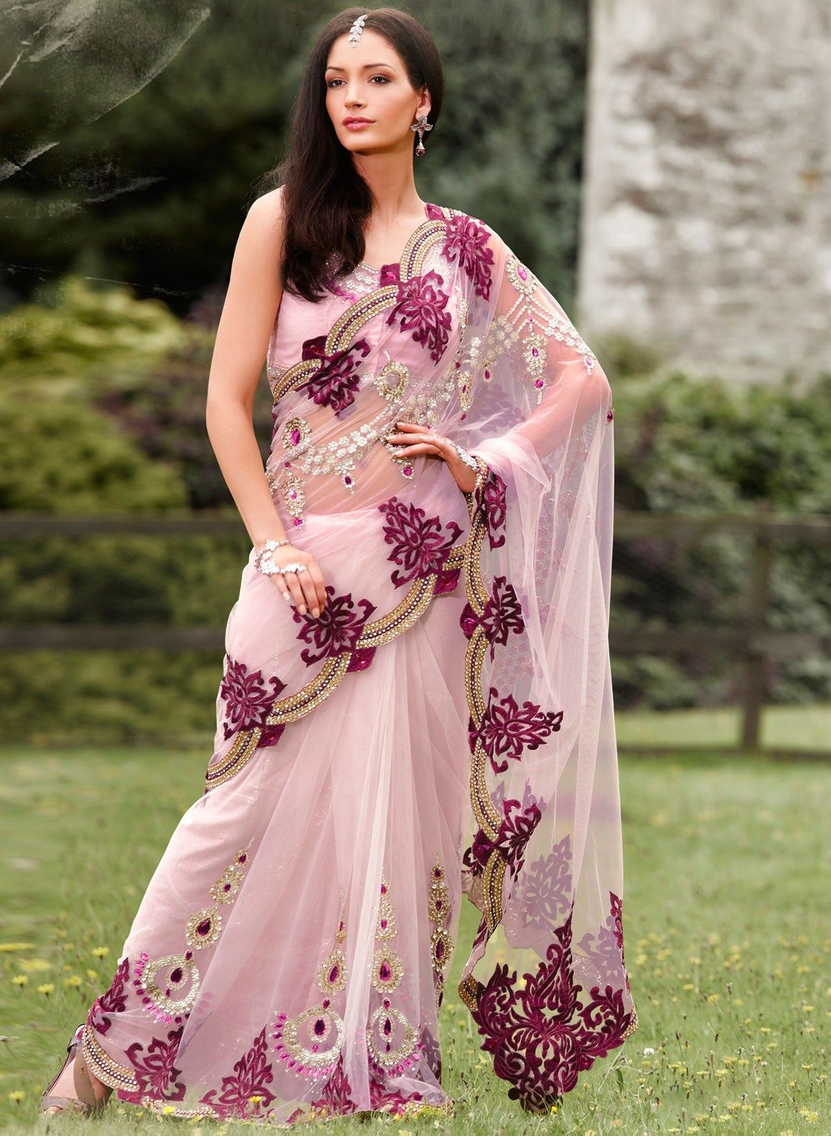 Latest Net and embroided fancy Indian Saree for modern ...